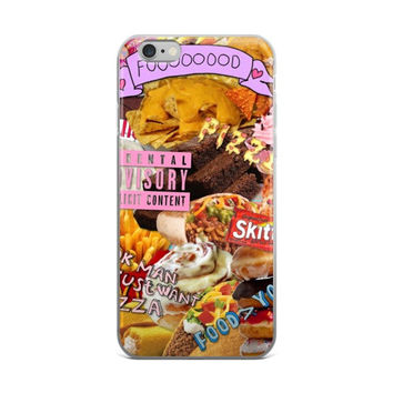 Junk Food Collage Pizza Brownies Twinkies Tacos Burritos Mcdonalds French Fries Skittles Food Lover Food > You Girly Girls iPhone 4 4s 5 5s 5C 6 6s 6 Plus 6s Plus 7 & 7 Plus Case