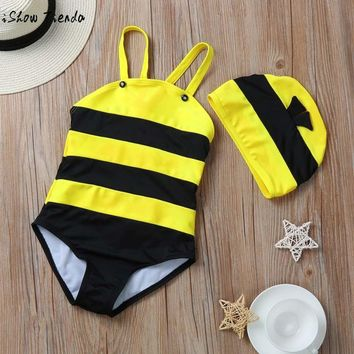 Bumblebee Baby Swimwear+Hat Little Bee Swimsuit Beachwear Toddler Bathing Suit