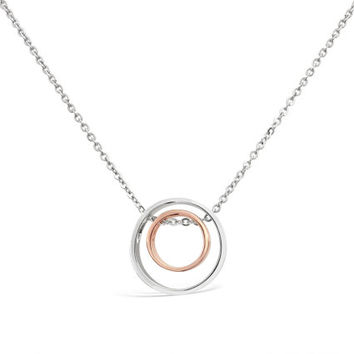 Two Circle Pendant - Two Tone Circle Pendant - Double Circle Jewelry - Sterling Silver Circle Pendant - Circle Necklace Pendant- Womens Gift