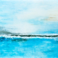 Original landscape painting 24 x 36 blue seascape abstract art oil painting modern art by L.Beiboer