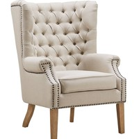 Abe Beige Linen Wing Chair with Nail-head Trim
