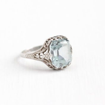Vintage Art Deco Sterling Silver Simulated Aquamarine Ring - Size 6 3/4 Antique 1920s Flower Filigree Light Aqua Blue Glass Stone Jewelry
