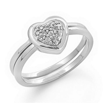Sterling Silver Wedding Ring Set CZ Heart Bridal Engagement Love Ring size 5-9