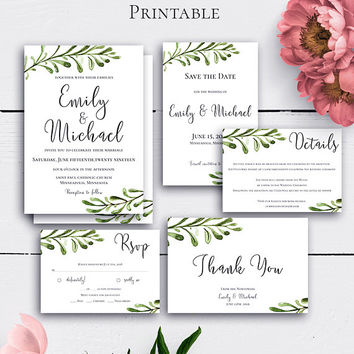 Greenery Rustic Wedding Suite, Invitations, Printable Wedding Set, Nature Invites, Suite Template, Details Card, Greenery Invitation