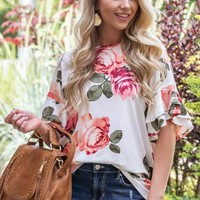 Spring Sunrise Floral Printed Top