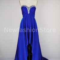 2013 New Fashion Strapless High Low Roral Blue Prom Dress