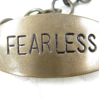 FEARLESS hand stamped brass bracelet hand stamped by CobwebCorner