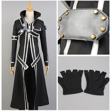 Sword Art Online Japanese Uniform Anime Cosplay Kirito Cosplay Coat of Midnight Suit Outfit Halloween Costume For Men