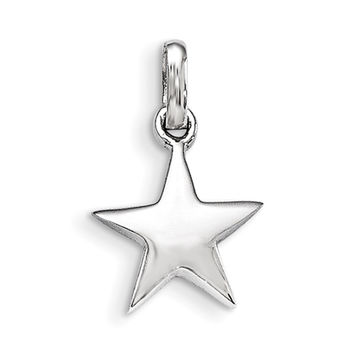 925 Sterling Silver Rhodium Plated Five Pointed Star Girls Pendant