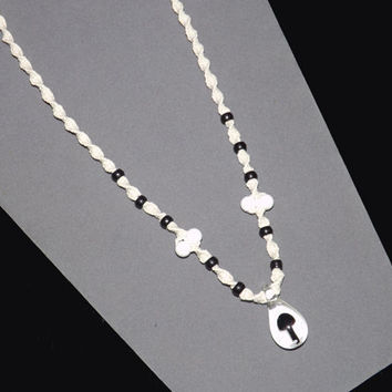 Black and White Hemp Mushroom Necklace - Custom Fit