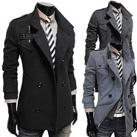 Double Breasted Slim Fit Men Fashion Wool Trendy Coat