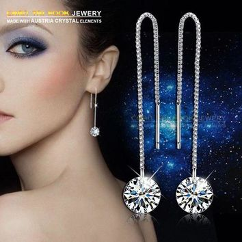 ac spbest IREACESS Free Shipping new earrings long chain luxury AAA zircon drop earring fashion jewelry for women