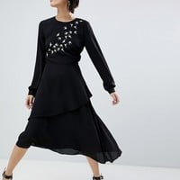 Warehouse Swallow Embroidered Dress at asos.com