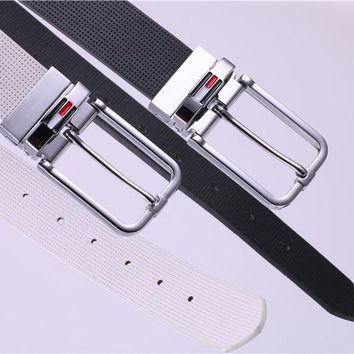 """Tommy Hilfiger""Unisex Fashion Classic Multicolor Letter  Needle Buckle Genuine Belt"