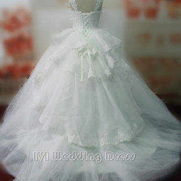 Real Gorgeous Wedding Dresses with Tiered Back Train Bridal Gowns with Pearls Ball Gown