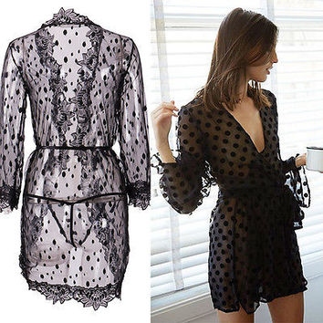 Women Sexy Lingerie Babydoll Bath Robe Sleepwear Underwear Lace Dress Nightwear