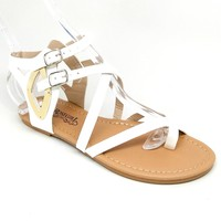 Women's White Shiny Sandal with Buckle