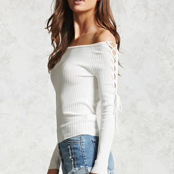 Ribbed Off-the-Shoulder Top - Women - 2000088833 - Forever 21 Canada English
