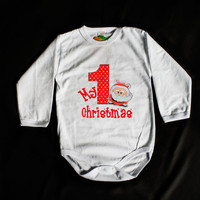 Baby Christmas Bodysuit Onesuits First Year Santa Claus Long Sleeve 100%cotton Non-allergenic Healthy Ink Customization White 1 year