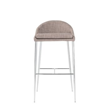 Brielle-B Bar Stool in Dark Gray with Chrome Legs - Set of 2
