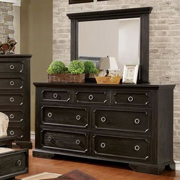 Charming Wooden Dresser In Transitional Style With Loop Knob, Black