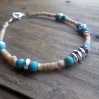 Ocean Breeze, White, Sea Shell, Heishi, Hill Tribes Beads, Turquoise Blue Stone, Stacking, Beach Bracelet,