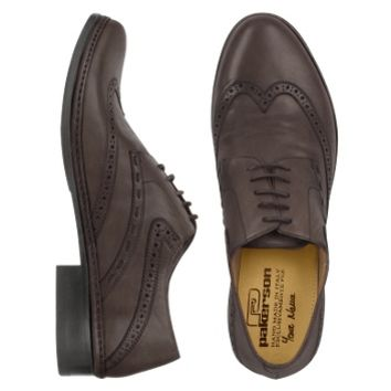 Pakerson Designer Shoes Dark Brown Handmade Italian Leather Wingtip Oxford Shoes