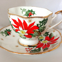 Queen Anne Noel Fine Bone China Teacup & Saucer Set - Christmas Red Poinsettia flowers - Green Gold - Holly Berry - xmas tea party - England