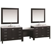 Design Element Two London 48 in. W x 22 in. D Vanity in Espresso with Marble Vanity Top in Carrara White, Mirror with Makeup Table-DEC082CX2_MUT - The Home Depot