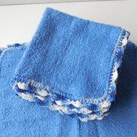 Crochet Edged Blue Wash - Dish Cloths