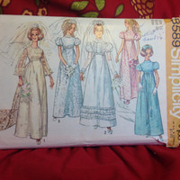60's Wedding Dress with Detachable Train and Bridesmaid Dress Pattern Simplicity 8589 Cut- Vintage 1960's