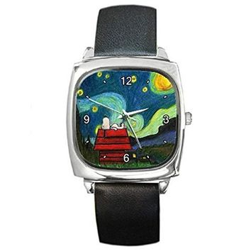 "Snoopy on "" Starry Starry Night "" by Van Gogh Silver Square Watch with Leather Band"