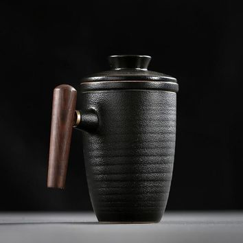 Black Pottery Mug with Wood Handle, Filter and Cover