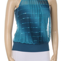 Double Glitter Stripe Top - Teal - Plus Size - 1x - 2x - 3x
