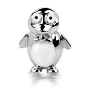 Sterling Silver Penguin Bead Charm White and Black Enamel