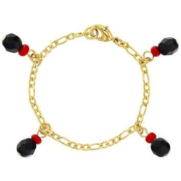 18k Gold Plated Simulated Azabache Charm Evil Eye Protection Bracelet for Babies 4.5""
