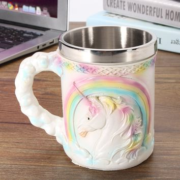 Fashion New Stainless Steel Novelty Unicorn Mug Coffee Tea Beer Cup Home Office Christmas Gift