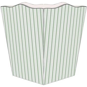 Sage Stripe Wastepaper Basket