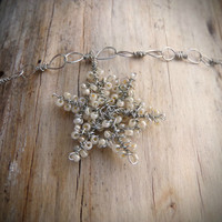 Special Holiday Price - Dainty and Intricate Ivory and Silver Wire Wrapped Snowflake Pendant - Winter Weddings