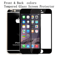 Electroplating Colors Tempered Glass Screen Protector For Iphone6 Iphone6 Plus Front and Back Screen Protector with crystal Box 1 pcs free