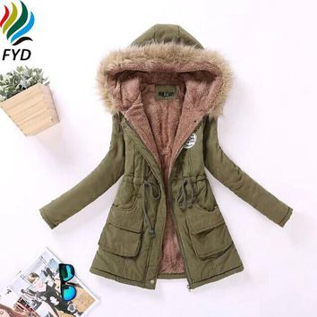 Autumn Winter Women Jacket Cotton Padded Embroidery Hooded Parkas Slim Coat New 2017 Plus Size 3XL Casual Wadded Overcoat Z185