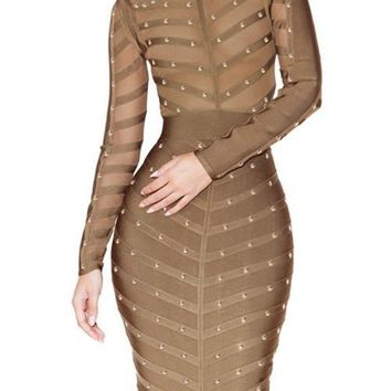 Long Sleeve Studded Midi Bandage Dress - Olive
