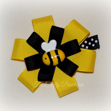 Bumble Bee Hair Clip ~ Bumbe Bee Bow ~ Bumble Bee Clippie Bow ~ Bumble Bee Baby Bow ~ Small Bumble Bee Bow ~ Black & Yellow Bow ~ Bumble Bee