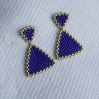 Handmade Earring Triangle Blue Gold Bead Glass Japanese Geometric Beadwork Weave Geometric Beadwork Weave Beaded jewelry Beadwoven