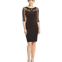 Sangria Beaded Illusion Scuba Sheath Dress - Black