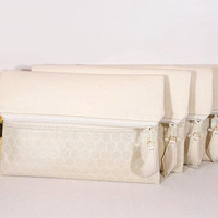 Set of wedding clutches, foldover leather clutch, Evening clutch bag, wedding clutch for bride, cream leather purse, gift for bridesmaids