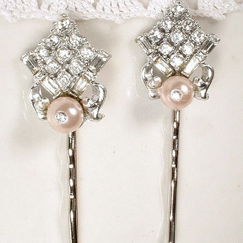Blush Pink Bridal Hair Pins, Pair Art Deco Pave Rhinestone Silver Bobby Pins, 2 Vintage Pearl Baguette Crystal Hair Clip Wedding Accessories