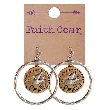 Show Your Faith Womens Metal PEACE Earrings