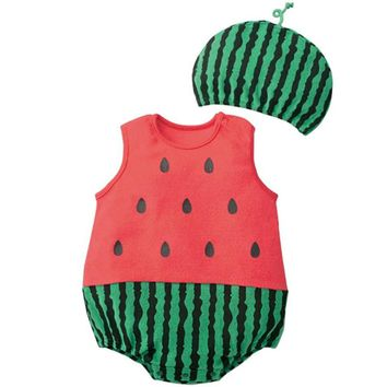 Cute Baby Clothes Cartoon Baby Boy Girl Rompers Cotton Animal And Fruit Pattern Infant Jumpsuit + Hat Set Newborn Baby Costumes