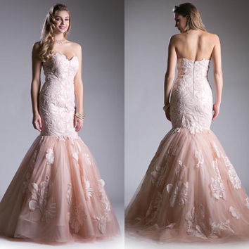 Jovani style Strapless Tulle Mermaid Prom Dress in Blush and Black Wedding gown